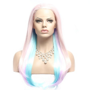 Wigshow® Wig Straight Pink Root Purple Wathet Blue Ombre Front Lace Wig Synthetic 60cm