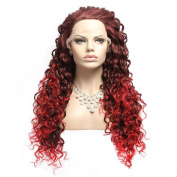 Wigshow® Wig Wave Black Red Teo Tone Front Lace Wig Synthetic 60cm