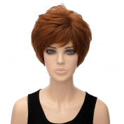 New Sexy Lady Short Straight Golden Brown Cosplay Party Full Wigs Synthetic Hair