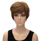 Women Fahsin Light Brown Full Wigs Short Straight Heat Resistant Cosplay Party