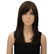 Women Long Straight Heat Resist Synthetic Full Wigs Dark Brown Cosplay Party Wig