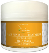 Nature Lush Hair Mask with Honey, Aloe Vera & Olive Oil - Deep Conditioner - Restore Dry, Damaged or Colour Treated Hair After Shampoo, Best for All Hair Types - Parabens & Silicones Free - 200ml