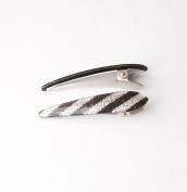Ficcare Mini Maximas Hair Clip French Glittery Stripe Silver - pair