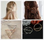 ANGELANGELA Minimalist 4Pc Gold Silver Triangle Round Hollow Geometric Metal Hairpin Hair Clip Clamps Accessories Barrettes Bobby Pin Ponytail Holder Statement Women's GIFT Headwear Styling Jewellery