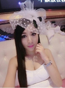 Sunshiny Lady Girl Feather Net and Veil Fascinator Hair Clip Hat Decoration Bridal Veil Headwear