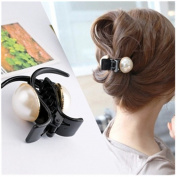 Casualfashion 3Pcs/Set Fashion Women's Acrylic Pearl Hair Gripper Ponytail Holder Headdress