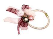 Tiny Shiny Stars Inside Glass Ball Pearl Beads Flower Elastic Hair Tie Ponytail Holder (Made In Korea)