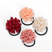 Face Forever 4pcs Handmade Daisy Elstic Hair Tie For Girl Women Delicate fabric flowers Ponytail Tie Accessories 4 Colours
