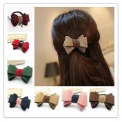 Lovef 10Pcs Fashion Women Bow Hairband Hair Ties Scrunchie Ponytail Holder Matte Fabric Hair Rope