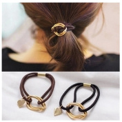 Lovef 5Pcs Fashion Gold Plating Metal Cuff Band Ponytail Tie Hair Cuff Elastic Wrap Hair Rope Hair Ring
