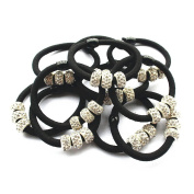 Casualfashion 10Pcs Lady Girls Shiny Rhinestone Rubber Band Hair Rings Korean Hair Accessories Hair Ropes Ponytail Holder