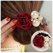 Lovef 4Pcs Korean Fashion Pearl Hair Rope Rose Flower Hair band Rhinestone Hair Ties Rubber Band Hair Jewellery