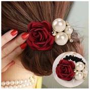 Lovef 4Pcs Korean Fashion Pearl Hair Rope Rose Flower Hair band Rhinestone Hair Ties Rubber Band Hair Jewellery