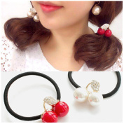 Casualfashion 6Pcs New Korean Fashion Hair Rope Cute Rhinestone Cherry Hair Ring for Women Girls