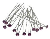 Dozen Pack Hair Sticks with Crystal Flower Ornament 1.1cm in diameter NF83075-1hsflr-Dpurple