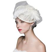 BININBOX Brides Fascinator Feather Birdcage Veil Headpiece Wedding Party Ivory Top Hat
