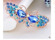OliaDesign® Crystals Blue Butterfly Hair Clip Bang Headdress Barrette Rhinestones Moon Clamp Hairpins