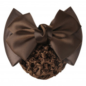 Shuohu Women Pro Bow Barrette Hair Clip Cover Bowknot Bun Snood Hairnet