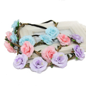 3pcs Women Girl Boho Flower Garland Crown Festival Hair Wreath Floral Headband