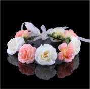 Cfrmall Flower Wreath Headband Floral Crown Garland Halo for Wedding Festivals