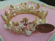Luxury Handmade Wedding Bridal Shell Pearl Fabric Flower Tiara