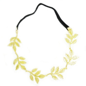 LEFV™ Fashion Metal Olive Leaf Hair Band Flower Leaves Headband Elastic Hairband Hairdressing Ornament Decor, Golden