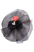 Womens Fashion Veiled Fascinator w/ Floral Design