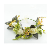 Bride Flower crown Headband Garland with Adjustable Ribbon for Wedding festival