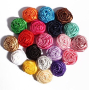 Supadeals Novelty Artificial Soft Satin Ribbon Rolled Rose Fabric Flowers For Children Headbands; Hair Accessories - 50Pcs/Lot 5Cm 20 Colours