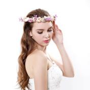 Newly Flower Wreath Headband Garland Halo with Adjustable Ribbon for Wedding