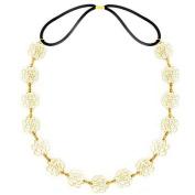 LEFV™ Elegant Metal Hollow Rose Hair Band Flower Headband Elastic Hairband Hairdressing Ornament Decor, Golden