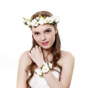 2pcs/Set Flower Crown Wedding Hair Wreath Floral Headband Garland Wrist Band