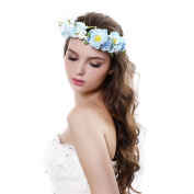 Camellia Berries Flower crown Headband with Adjustable Ribbon for Wedding