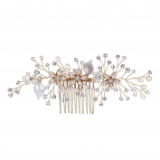 Nymph Code Pearls and Crystal Flower Bridal Wedding Decorative Hair Combs For Women Makeup