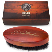Boar Bristle Beard Brush - Perfect For Balms and Oils - Natural, Soft Boars Hair - For Help Softening And Conditioning Itchy Beards - Presented in Cardboard Gift Box