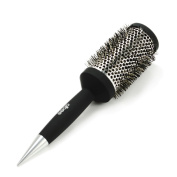 Styling Natural Boar Bristles Hair Brush Rubber Rounded handle Silver plated Anti-Bacterial