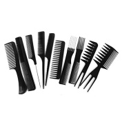 SaiDeng 10pcs Salon Hairdresser Hair Styling Comb Set Hairdressing Barbers Brush Black