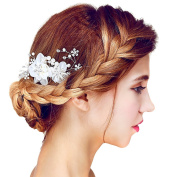 Nymph Code Bridal Pearls and Crystal Lace Flower Hair Side Combs for Women Bridesmaid Wedding Decor Accessories