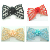 Casualfashion Pack of 4 Fashion Women Girls Rose Flower Hair Combs, Hand Beaded Ez Stretch Combs for Easy Ponytails, UpDos and Twists
