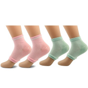 AYAO Moisturising Gel Heel Open Toe Socks for Dry Hard Cracked Skin (Pink and Green) -2 Pair