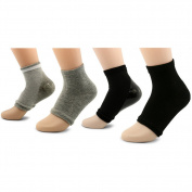 AYAO Moisturising Gel Heel Open Toe Socks for Dry Hard Cracked Skin (Black and Grey)-2 Pair