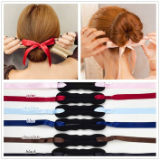 ANGELANGELA 3Pc MIX Random Colour Ribbon Magic French Twist Bun Maker Holder Roll Rings Donut Updo Chignon Former Pads Foam Sponge Hair Styler Curler Braid Ponytail Hairstyle Styling Tool Accessories