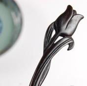 Chinese Tulip Dark Handmade Carved Ebon Hair Sticks Shawl Pins Picks Pics Pins Forks 18cm