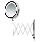Kenley Wall Mounted Magnifying Makeup Mirror with LED Light - Extending Vanity Shaving Lighted 18cm Two-Sided Mirror with 3x Magnification