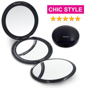Fancii Compact Makeup Mirror - Trifold Travel Magnifying Mirror with 1X 2X and 5X Magnification - Best 3 Way Three-Panel Folding Cosmetic Beauty Mirror For Purses