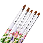 OVERMAL 5pcs UV Gel Acrylic Nail Art Brush Painting Pen Set Nail Design Manicure Tool