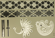 8 Premium Metallic Tattoo sheets. 100+ Temporary tattoos. Non-Toxic. 100+ + stickers per tattoo pack. Gold/Silver metallic colours. . designs vibrant colours by AGB