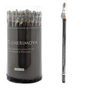 Cherimoya Wooden Eyeliner Lipliner Pencil 72 Pcs - Charcoal