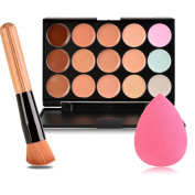 Eshion 15 Colours Contour Face Cream Makeup Concealer Palette + Powder Brush Sponge Puff