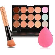 Eshion 15 Colours Contour Face Cream Makeup Concealer Palette + Powder Brush Sponge Puff